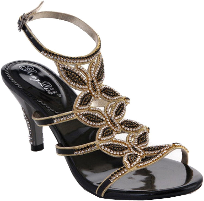 Salabobo Womens Sexy Wedding Party Job Leather Stiletto Sandals