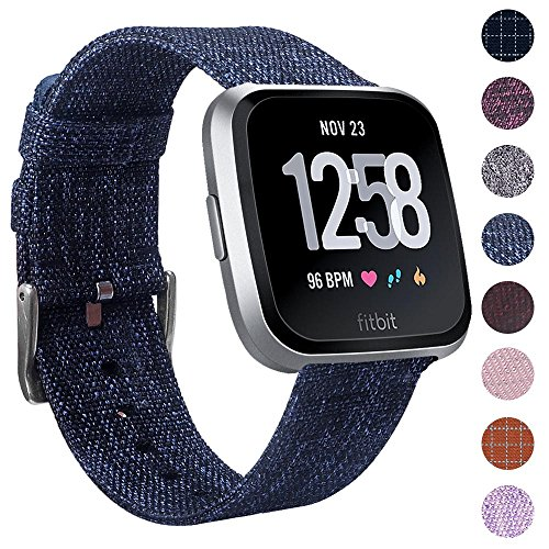 EZCO Compatible Fitbit Versa Bands, Woven Fabric Breathable Watch Strap Quick Release Replacement Wristband Accessories Compatible Fitbit Versa Smart Watch Women Man, Astro Blue