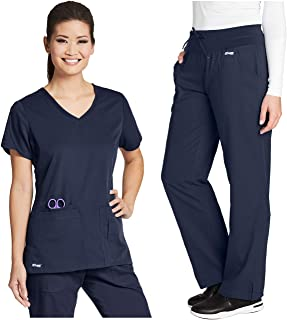 Grey's Anatomy 4-Pocket Top Bundle with Yoga Pant Medical Scrub Set for Women