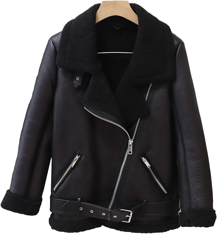 Women's Faux Leather Lambs Leather Jacket Wool Fur Collar Moto Biker Short Coat Zipper Jacket Winter Warm Thick Outwear