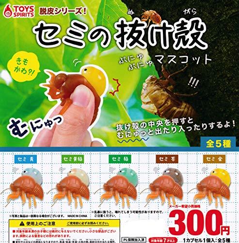 脱皮シリーズ! セミの抜け殻 ぷにゅぷにゅ マスコット [全5種セット(フルコンプ)]