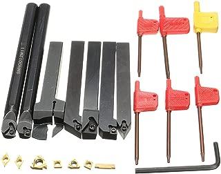 Turning Tool Holders,Yingte 7pcs 12mm Shank Lathe Boring Bar Turning Tool Holder Set with Carbide Inserts