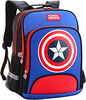 Backpacks Captain America Children Primary Schoolbag School Bags Teenager Student Backpack Dayback Waterproof (Sky blue, Large)