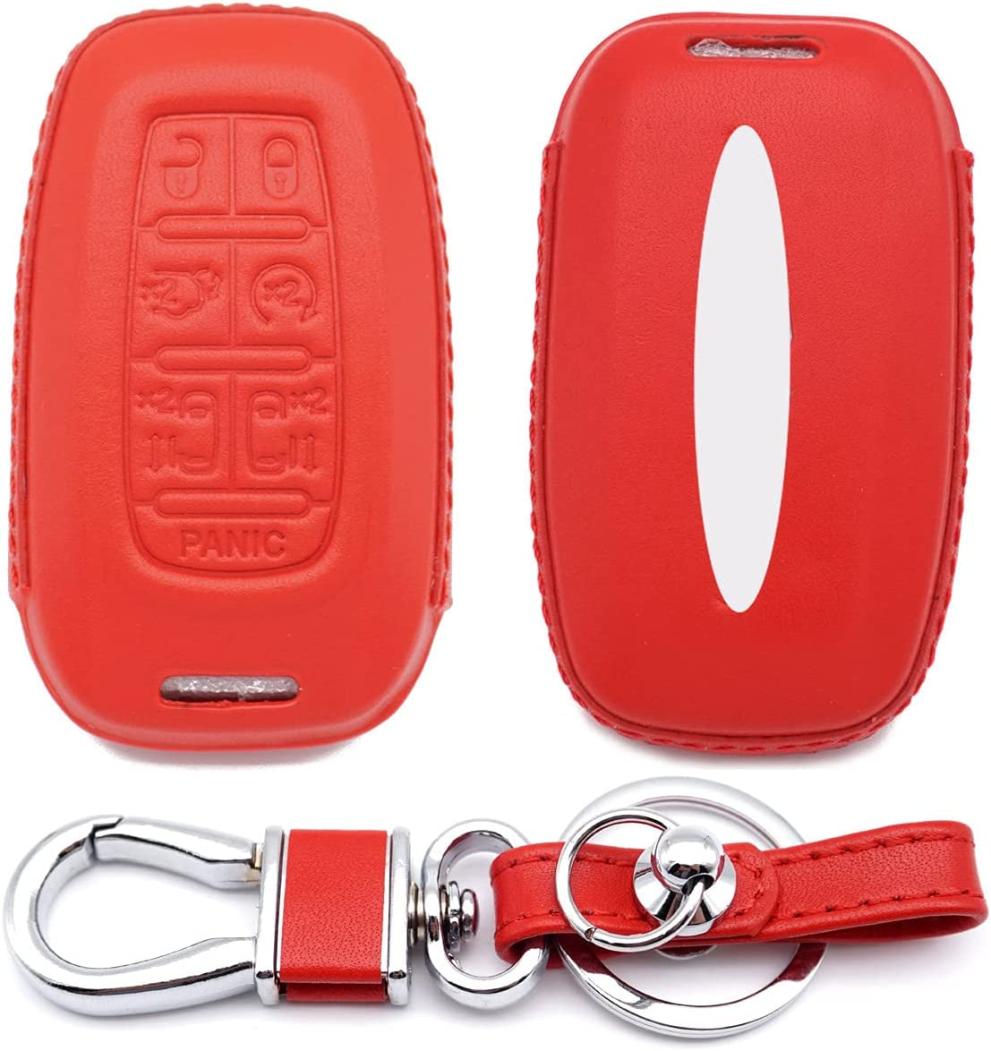 Royalfox(TM) Genuine Leather Full Protected Smart Remote Key Fob case Cover for Chrysler 2017 2018 2019 2020 2021 Pacifica,2020 2021 Voyager (red)