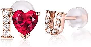 I Love You Earrings Feather Hoop Earrings 925 Sterling Silver Rose gold Heart Inscription Jewelry CZ Stud Earrings Women Girls for Sensitive Ears