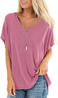Womens Short Sleeve Tops Dolman V Neck T-Shirts Summer...