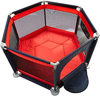 SXXDERTY-playard Kids 6-Panel PlayYard Playpen Portable Washable Play Center Fence with Playmat amp  Carry Case  amp  Breathable Mesh for Babies Toddler Newborn Infant  Indoor and Outdoor Play