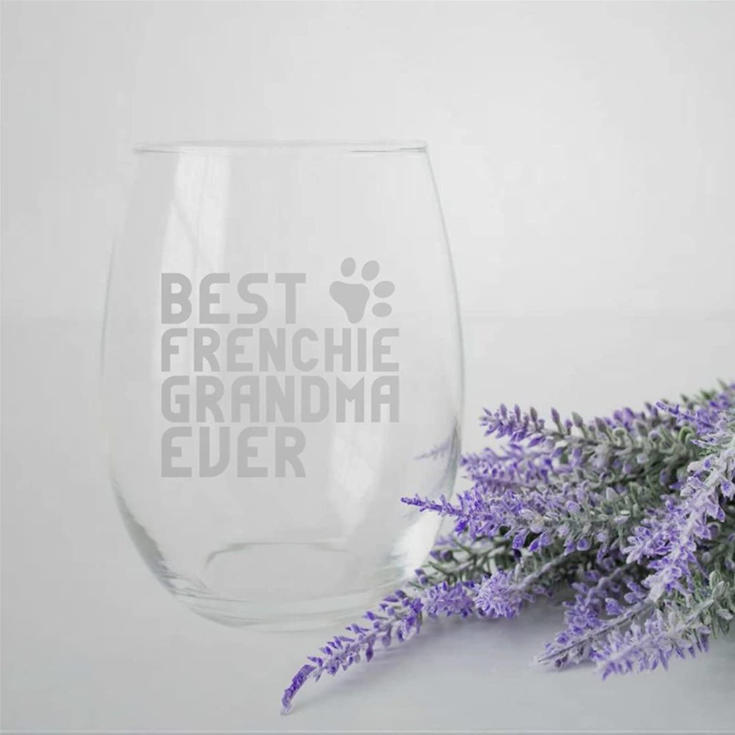 Dallas Mall Best Frenchie Grandma Sale Ever Crystal Glass Engraved Stemless Wine