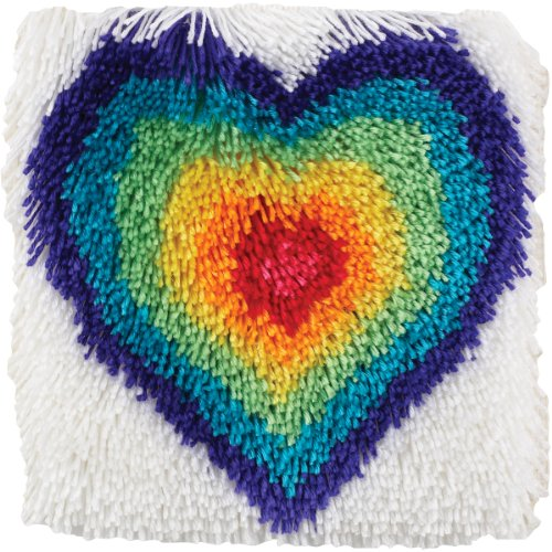 "Wonderart Shaggy From The Heart Latch Hook Kit, 12"" X 12"""