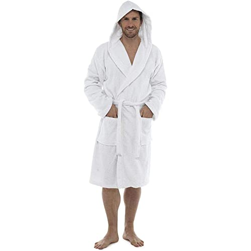 Men Towelling Robe 100% Cotton Terry Towel Shawl Collar Bathrobe Dressing  Gown Bath Robe Perfect 4a894fb40