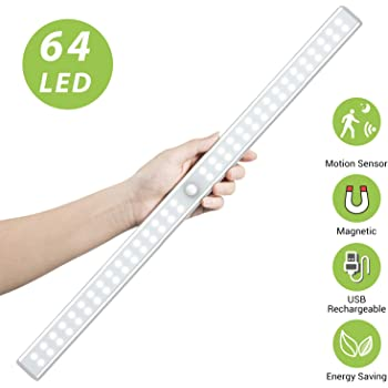 64 LED Closet Light, OxyLED Rechargeable Motion Sensor Closet Light Wireless LED Under Cabinet Closet Lighting for Cabinet, Closet, Cabinet, Wardrobe, Kitchen, Hallway
