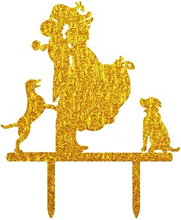 Wedding Cake Toppers Dogs Acrylic Cake Topper of Engagement and Wedding with Bride and Groom Gold