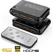 Fosmon 5 Port HDMI Switch, HDMI 2.0 Auto Switch, 4K@60Hz 5x1 Switcher Splitter Box with Remote Control Support 4Kx2K, Full 1080p, 3D HDR, 18Gbps, HDCP 2.2 for Apple TV, Fire Stick, HDTV, PS4, Xbox, PC