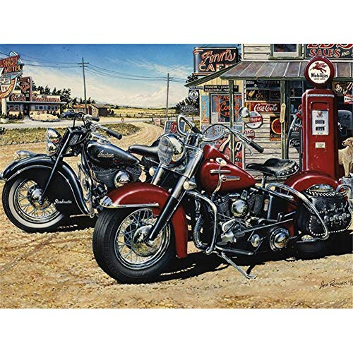 Diamond Painting 5D DIY Full Drill Kit Large Size Black Red Motorcycles Crystal Rhinestone Embroidery Pictures Cross Stitch Craft Mosaic for Home Canvas Wall Deco Square Drill,60x80cm