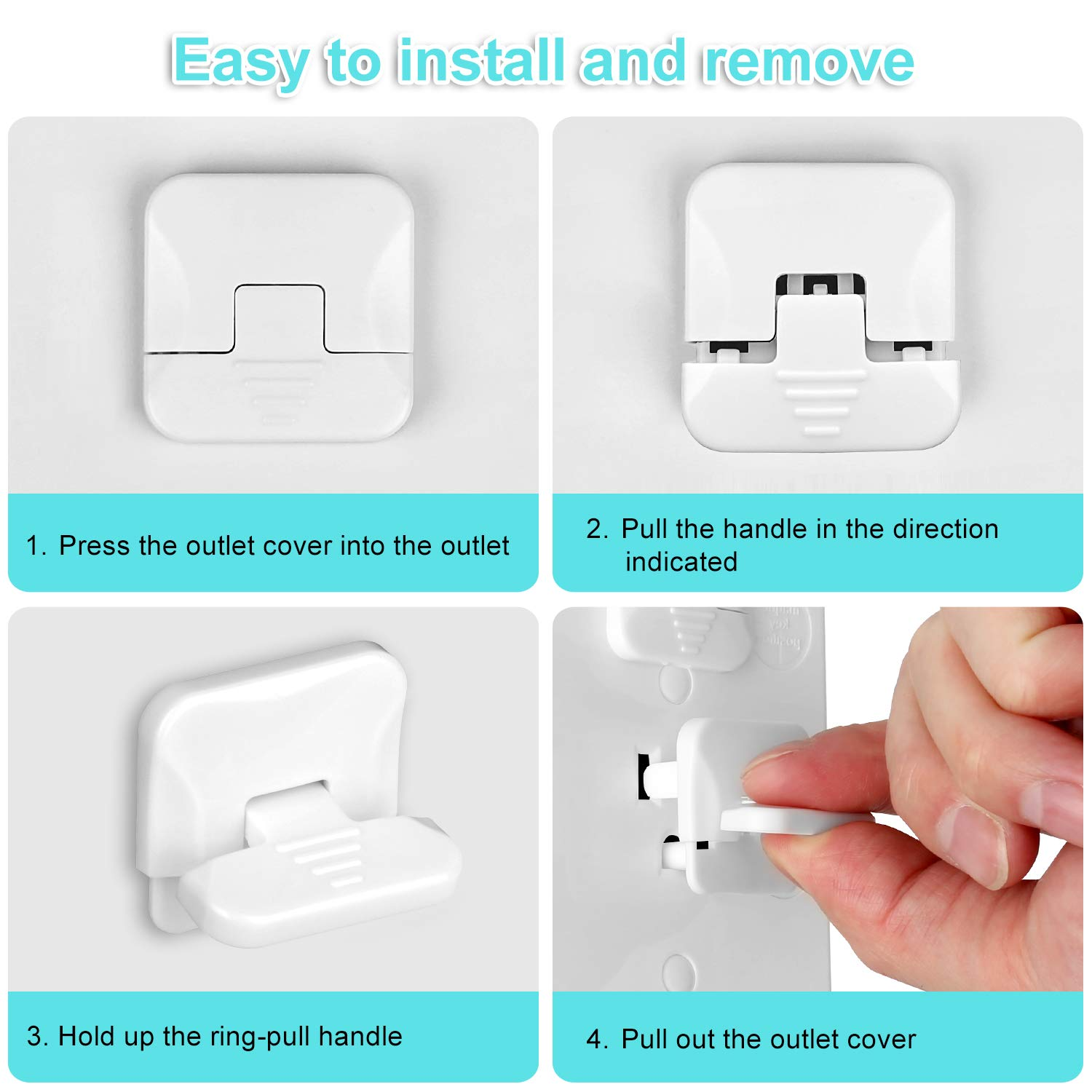 Outlet Covers Baby Proofing with Hidden Pull Handle (55 Pack) 3-Prong Child Proof Socket Covers Safety Power Outlet Plug Covers Electric Outlet Protectors Childproof Outlet Cap