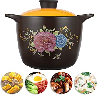 4.7-Quart Large Ceramic Bean Pot with Yellow Lid, Large Ceramic Soup Pot Stockpot Stew Pot Ceramic Sauce Pot Casserole Ceramic Cooking Pot, Retro Flowers Pattern Ceramic Black Dish Cookware Soup Pots