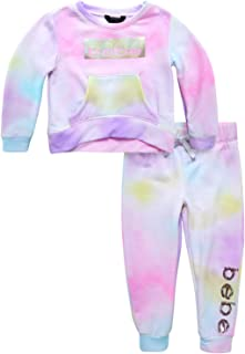 bebe Baby/Toddler Girls' Jogger Set - Fleece Pullover Sweatshirt and Sweatpants Playwear Outfit (Toddler)