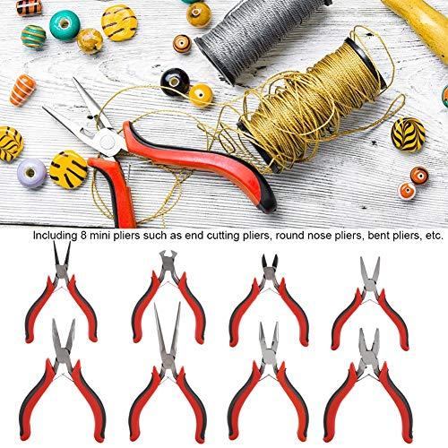 8Pcs Herramienta de alicates de joyería,Alicates de Corte Final Alicates de Punta Redonda Alicates Doblados,para Cuentas Fabricación de Joyas Embalaje de Regalo