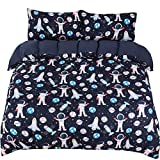 PiccoCasa Kids Duvet Cover Set 3 Piece Bedding Set Soft Fade & Wrink Resistant Space Rocket Print with 2 Pillowcases Full