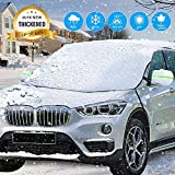 AMeek Windshield Snow Cover with Mirrow Covers and Straps, Extra Larger Thicker 4 Layers Magnetic Design Car Windshield Snow Cover for Ice and Frost Full Protection
