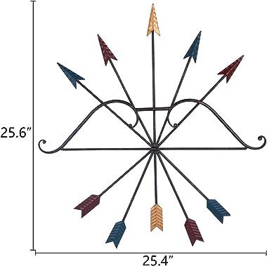 Yamfurvo Colorful Iron Metal Bow and Arrow Wall Art Decor, Native American Style Metal Arrows,Wall Decoration, Wall Sculpture