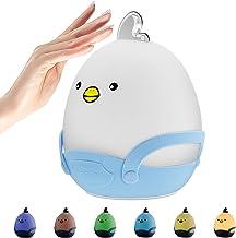 Oplaadbaar led-nachtlampje voor kinderen, nachtlampje voor de kinderkamer, met aanraaksensor, warm licht en 7-kleuren adem...