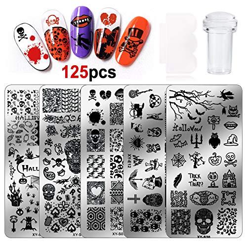 HOWAF stempelschablone für nägel, 5 Stück Halloween Nail Art Nagel Stamping Platte, 1 Stempel, 1 Schaber für Frauen Mädchen Halloween Decoration