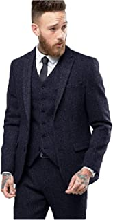 Men Slim Fit Suit Tweed Custom Tuxedo Wedding Blazer Jacket Pants Vest Set