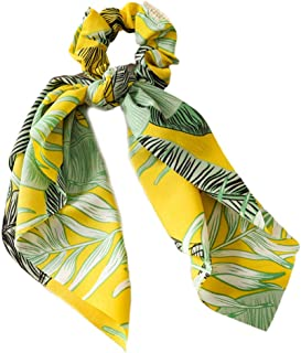 Tcn Women Boho Retro DIY Bow Streamers Scrunchies Tropical Leaves Print Long Ribbon Hair Ties Cuerda de goma Decorativa Cola de caballo