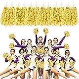 MOAMUN 24 Piezas Pompones Cheeleading para Escuadrón Cherring, Plástico Metálico Animadora Pompones de Aluminio con Mango para Equipo Deportivo Spirit Cherring Party Dance Decoration (Oro)