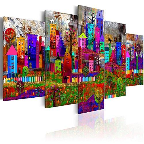 murando Cuadro en Lienzo Colorido 100x50 cm Impresión de 5 Piezas Material Tejido no Tejido Impresión Artística Imagen Gráfica Decoracion de Pared – Casa Ciudad d-A-0057-b-m