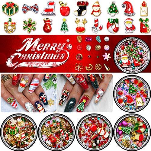 Christmas Nail Rhinestones, Super Valued Over 1500pcs 6 Pots 3D Nail Charms Sequins Alloy Santa Reindeer Snowman Snowflake Garland, Metal Nail Studs Moon flowers Gems Jewelry DIY Nail Art Decoration