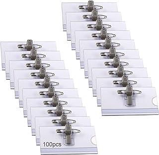 100pcs Plastica Badge,Targhette per il nome,Identificative professionali in plastica con Clip,Trasparente Badge,Per Scuol...