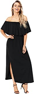 Women's Ruffle Off The Shoulder Casual Split Stretchy Maxi Beach Party Dress with Pockets