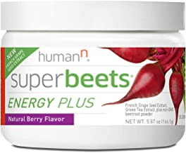 HumanN SuperBeets Energy Plus with Grape Seed Extract | Concentrated Non-GMO Beetroot Supplement with Green Tea Extract, 8...