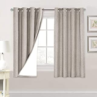 Best Linen Blackout Curtains 63 Inches Long 100% Total Blackout Heavy-Duty Draperies for Bedroom Living Room Thermal Insulated Textured Functional Window Treatment Anti Rust Grommet (Taupe, 2 Panels) Review
