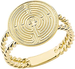 Solid 10k//14k Yellow Gold Maze Chartres Labyrinth Dainty Disc Leverback Earrings