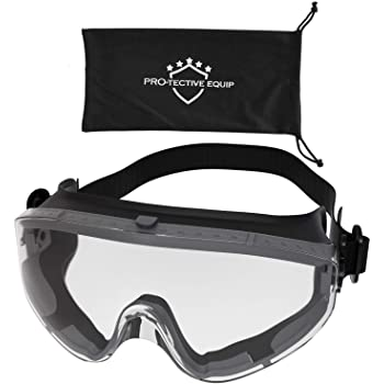 PROTECTIVE EQUIP Safety Goggles Over Glasses Clear Anti Fog Safety Glasses for Eye Protection, Chemistry Goggles for Lab Safety, Protective Eye Wear Goggles for Eye Safety, Multiuse (LARGE)