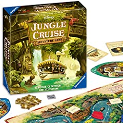 What you get - Disney Jungle Cruise comes with 1 Game Board, 80 Navigation cards, 4 Dice (1 Movement Die,3 Danger Dice), 4 Boat movers, 4 Boat placards, 6 Skipper Specialty cards, 4 Warning Shot tiles, 48 Passenger tokens, 31 River tokens, 4 Clue tok...