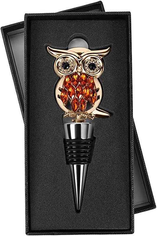 Premium Silicone Metal Zinc Alloy Owl Wine Stopper Plug FDA Approve For Bar Kitchen Holiday Party Wedding Reuse Airtight Seal Bottle To Preserve Prevent Oxidation With Gift Box
