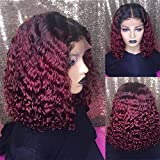 Curly Bob Wig Short Bob Human Hair Wigs For Women 13x6 Lace Front Human Hair Wigs 1b/30 1b/99J Burgundy Remy Hair(10inches, 1b/99J)