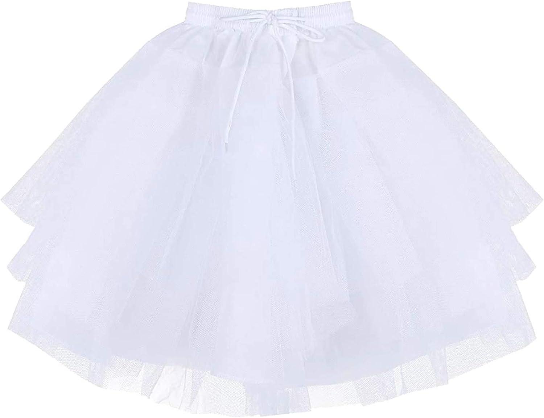 KKmeter Hoopless Petticoat for Girls Kids 3 Layers Net Crinoline Slip Underskirt Evening Wedding Party Dress