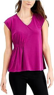 ALFANI Womens Purple V Neck Top AU Size:10