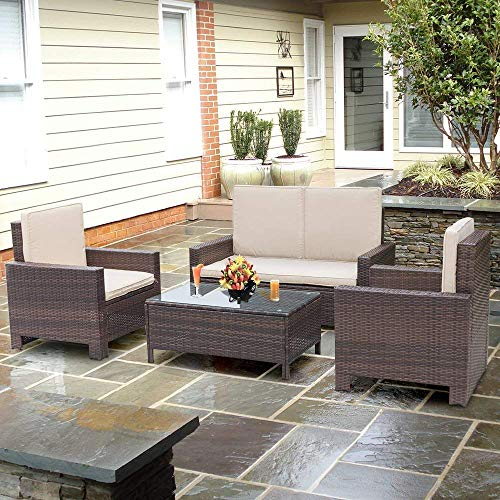 Patio Furniture for Small Spaces - Homall 4 Pieces Outdoor Patio Furniture Sets Rattan Chair Wicker Conversation Sofa Set, Outdoor Indoor Backyard Porch Garden Poolside Balcony Use Furniture (Beige)