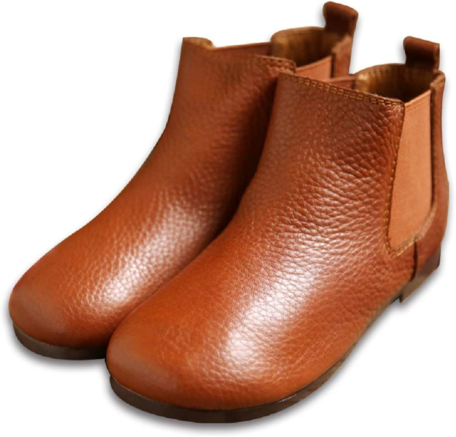 Women Elastic Boots Flat Leather Slip on Vintgae Ankle shoes (color   Brown, Size   CA 7)