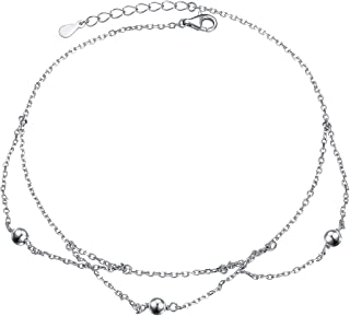 925 Sterling Silver Sexy Beach Jewelry Cute Multilayer Beaded Ankle Bracelet for Women Girls, 9+1 inch