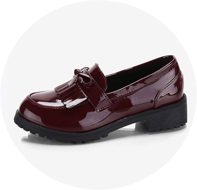 Women Bowtie Tassel Platform Derby shoes Flat Oxfords Autumn Leather Slip On Footwear