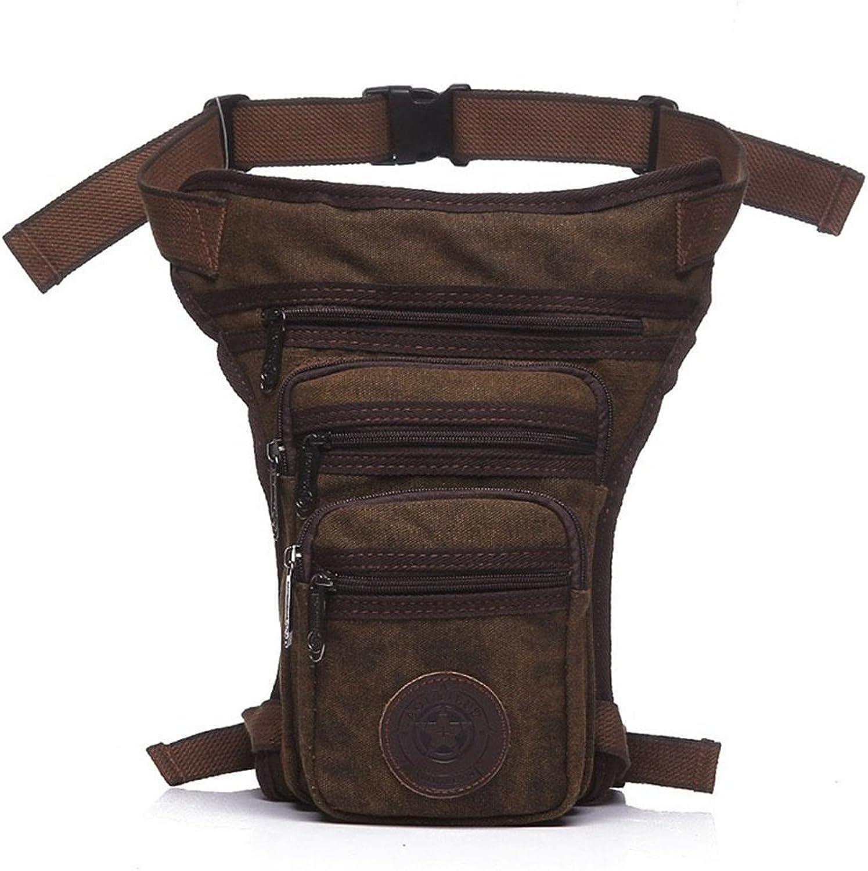 Waist Bag Hip Fanny Pack Casual Men's Pockets Zipper Waterproof Canvas Messenger Bag Shoulder Bag Brown Travel Running Walking