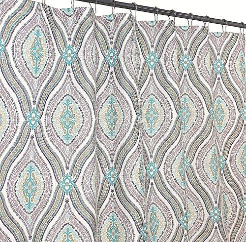 Elegant Blue Brown Neutrals Fabric Shower Curtain: Teardrop Paisley Print Design, 72' x 72' inch