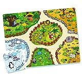 ColorBaby - Suelo puzzle bebé, 12 piezas, 32x32 cm, Alfombra zoo para niños, Puzzle alfombra bebé, + 2 meses, Alfombra goma eva, Alfombras infantiles puzle, COLORBABY (46556)